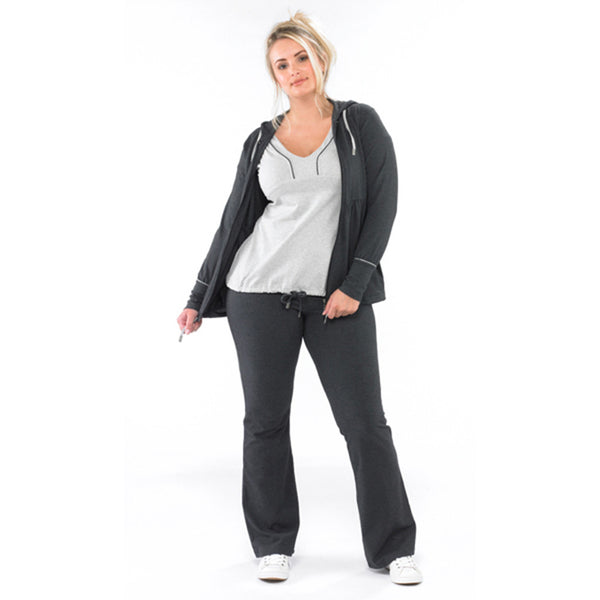 Plus size sportswear - zipped hoody jacket in dark grey marl with curvy light grey tee and curvy bootleg pants