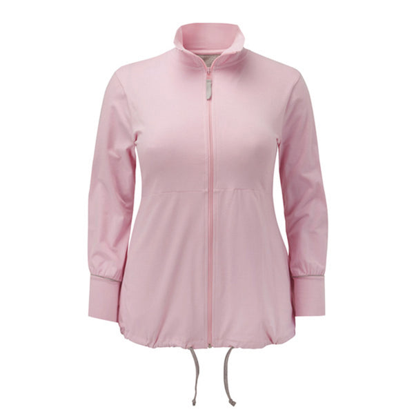 Plus size sportswear - curvy zipped jacket in soft pink