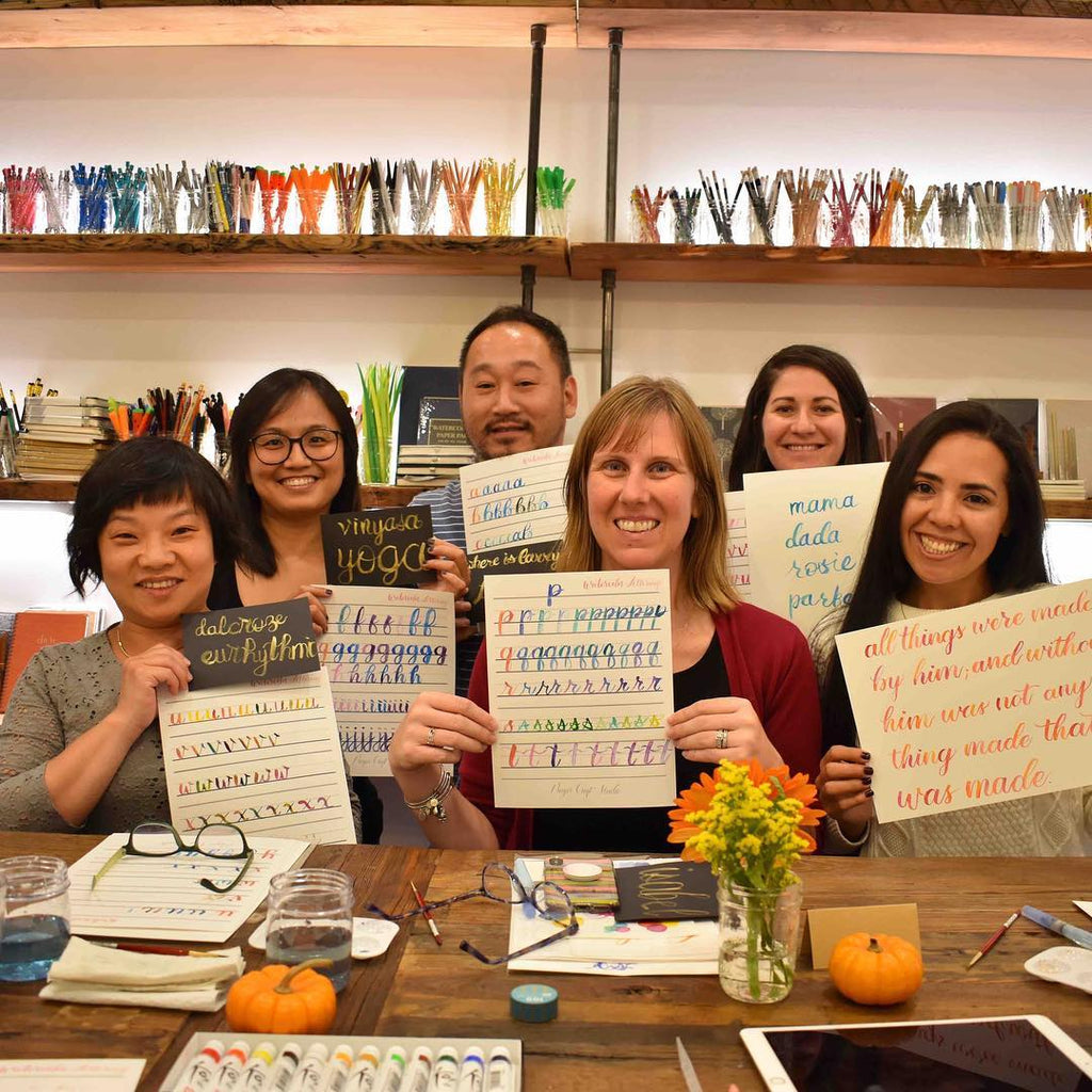 Fun watercolor lettering workshop night!