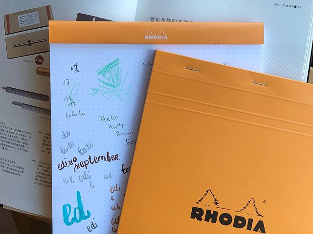 The orange Rhodia pad