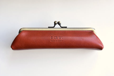 Life Leather Pen Pouch with Clasp - Brown