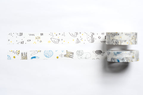 Classiky - Irago Tomomi Masking Tape - Beasts and Starlit Sky - Set of 2
