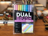 Dual Brush Pen Set - 10 Pastel