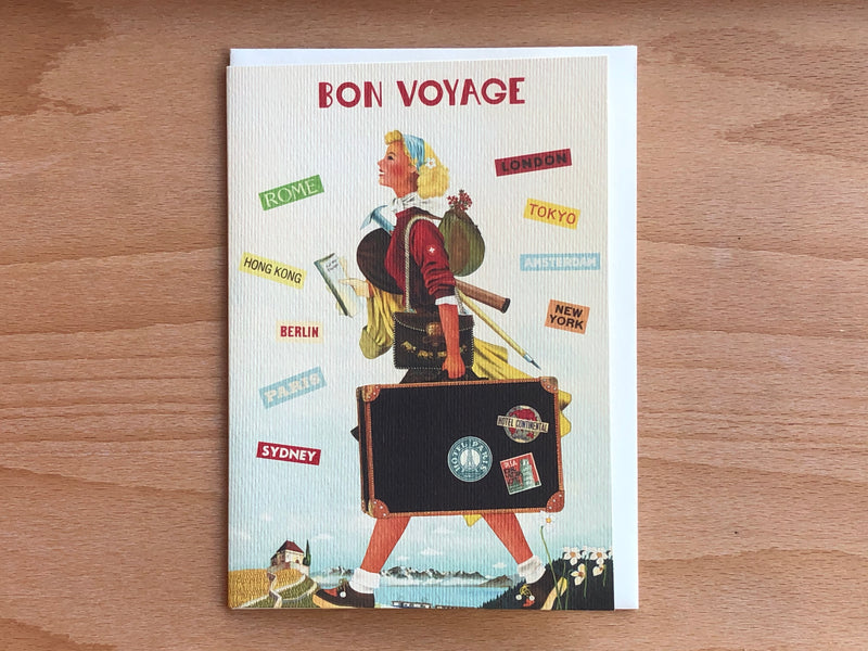 Bon Voyage - Girl With Suitcase Greeting Card