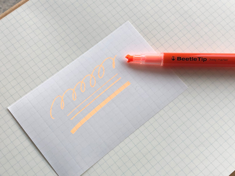 Kokuyo Beetle Tip 3way Highlighter Pen - Orange