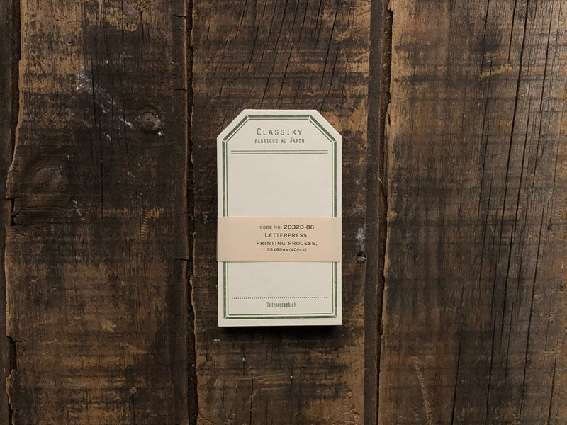 Classiky - Letterpress Label Card - Vintage Green