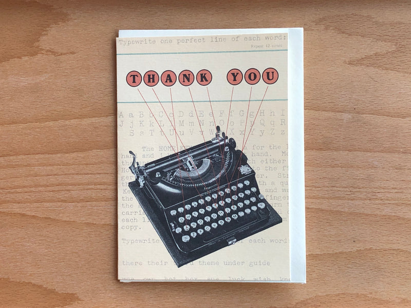 Vintage Typewriter - Thank You Greeting Card