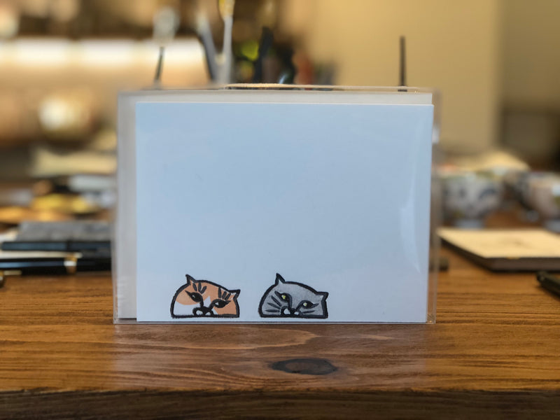 Peeking Cat Flat Note Cards - Box of 8