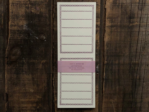 Classiky - Letterpress Folded Memo Card - Deep Purple