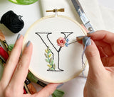 Beginner Embroidery: Floral Letter Workshop - 3/27 Friday Night BYOB