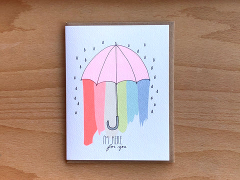 Here For You Rainbow Umbrella