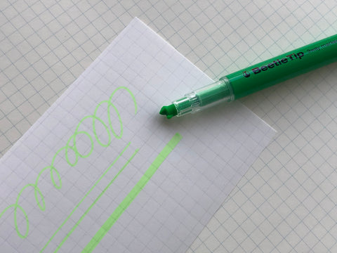 Kokuyo Beetle Tip 3way Highlighter Pen - Light Green