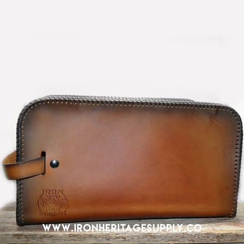 """Leather Shave / Travel Bag (Dopp Kit)"" by Iron Heritage"
