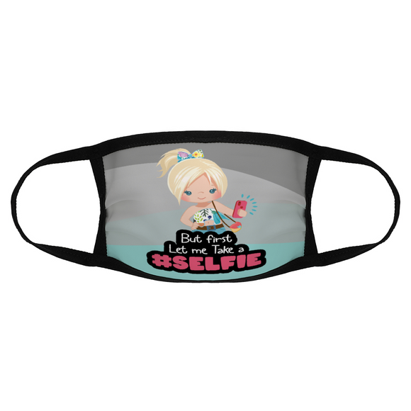 Girls Selfie Blonde Hair Face Mask / Woody Epps Gift Shop