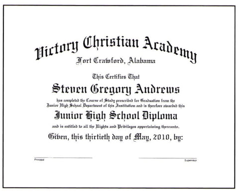 Deluxe Junior High School Diploma: #19-J