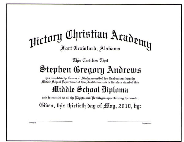 Deluxe Middle School Diploma: #19-M