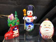 Assorted hand carved ornaments