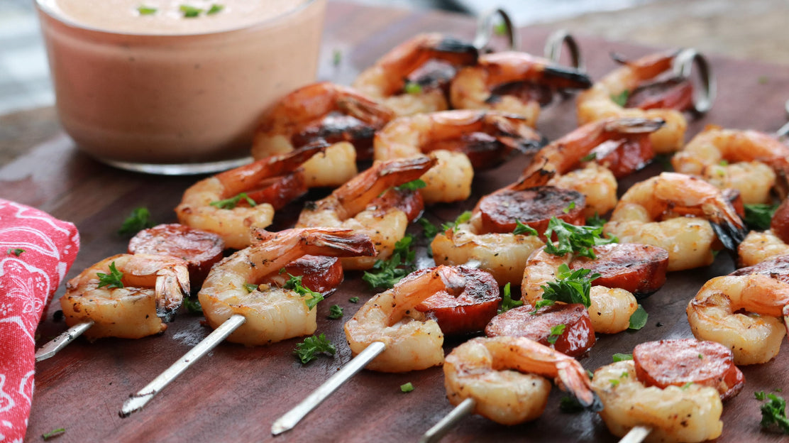 Cajun Shrimp and Andouille Sausage Skewers with Mississippi Comeback Sauce