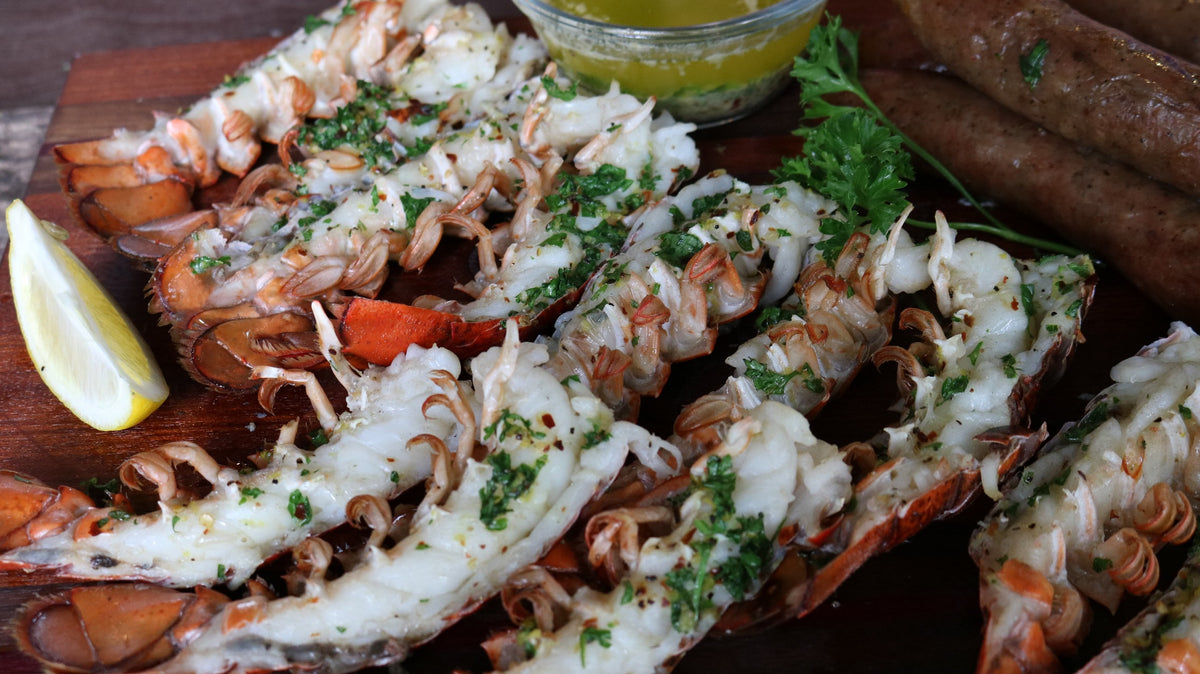Grilled Lobster Tails with Garlic & Red Pepper Butter Sauce