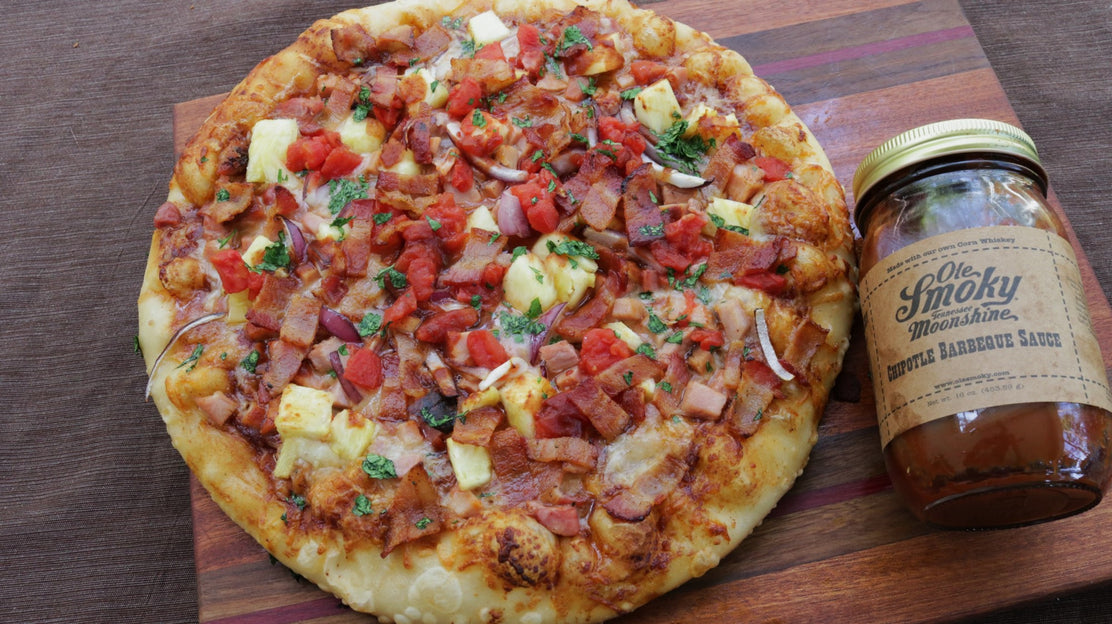 Hawaiian Pizza with Chipotle-Moonshine BBQ Sauce