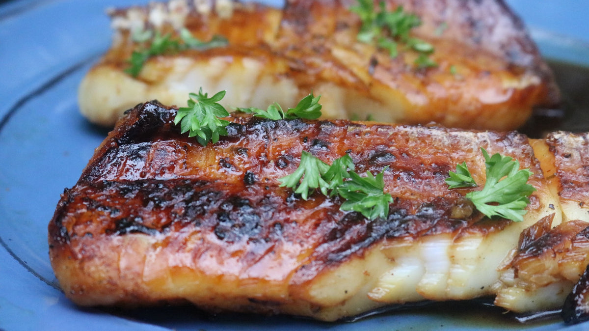 Honey-Porter Cod Cooked on a Himalayan Salt Block