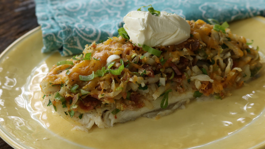 Cajun Bacon-Catfish Casserole Baked on the Grill