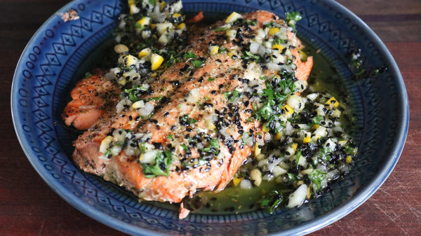 Grilled Salmon with Lemon Sauce & Sesame Seeds