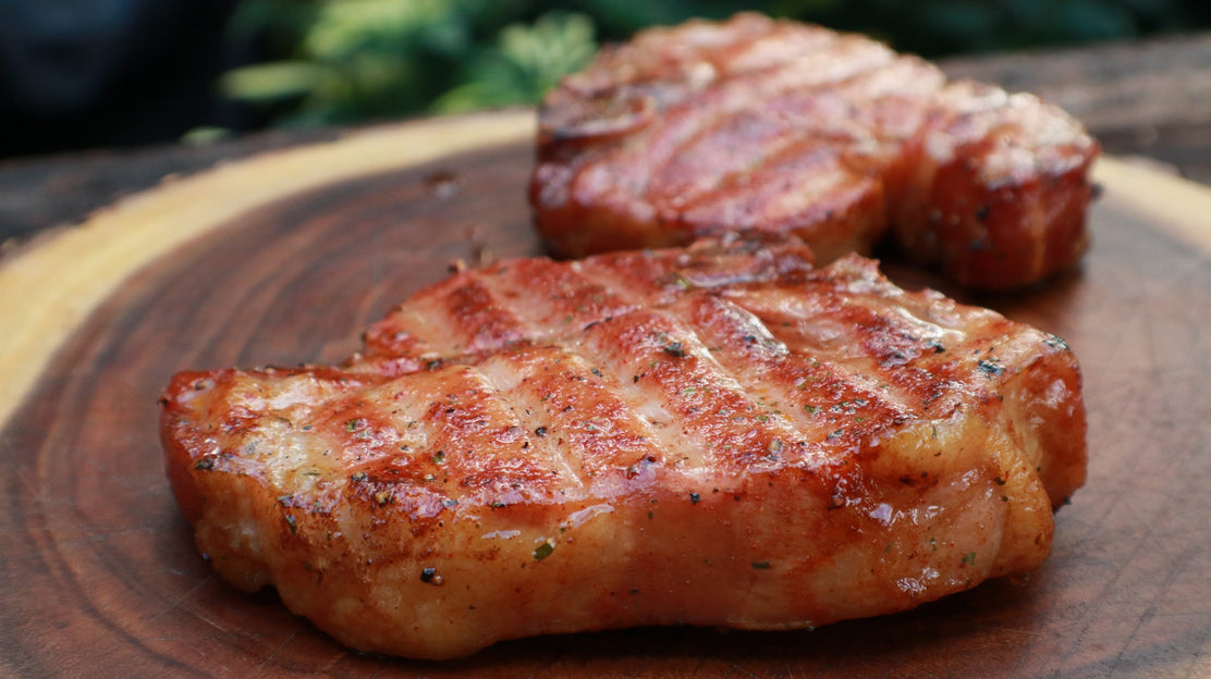 Grilled Ranch Pork Chops with Bourbon-Honey Glaze