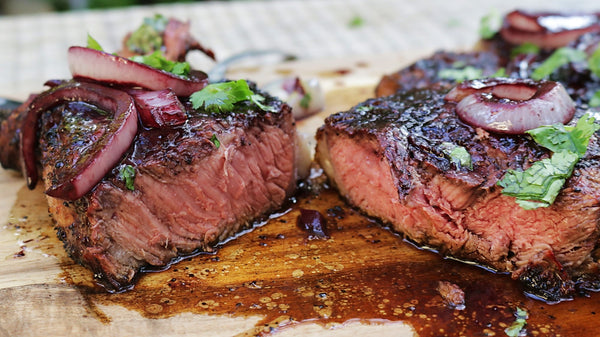 Grilled Ribeye Steaks with Red Wine Sauce
