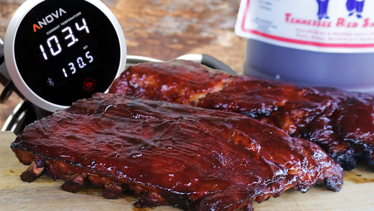 Sous Vide Baby Back Ribs with Blues Hog Tennessee Red BBQ Sauce