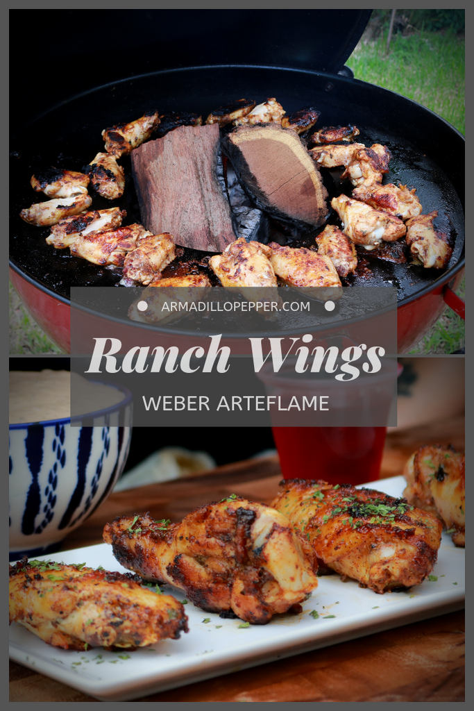 Ranch Chicken Wings cooked on the Arteflame Insert for the Weber Kettle Grill