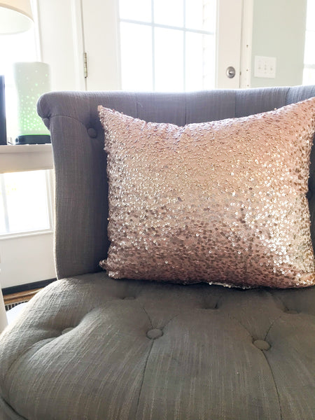 Rose Sequin Pillow Cover