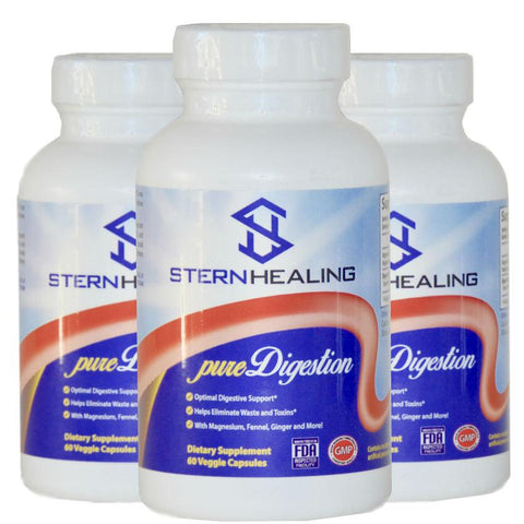 Digestive Support - 3 - Bottles Of Pure Digestion - Eliminate Bloating Gas Acid