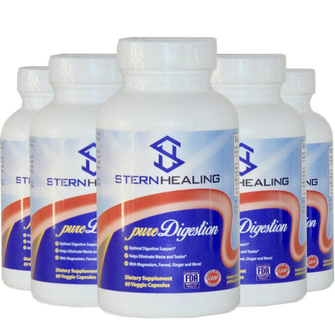 Digestive Support - 5 - Bottles Of Pure Digestion - Eliminate Bloating Gas Acid