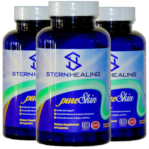 Skin Health Supplement - 3 Bottles - Stern Healing PureSkin - Beauty From Within