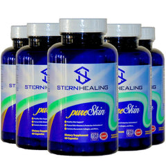 Skin Health Supplement - 5 Bottles - Stern Healing PureSkin - Beauty From Within