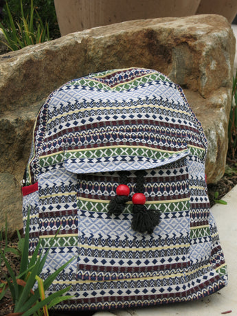 Hmong Print Hemp Backpack