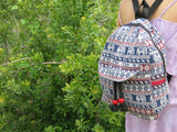 Elephant Print Hemp Backpack - Mini