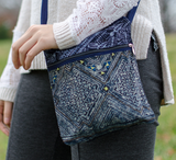 Hmongstudios - Crossbody Bags - Hemp Purse - Butterfly Print