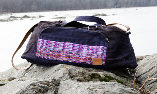Hmongstudios -  - Weekender Hemp Bag - Indigo and Purple Pocket