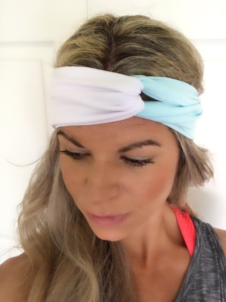 Aquamarine & White Active ~ Headband