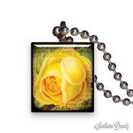 Vintage Yellow Rose Pendant