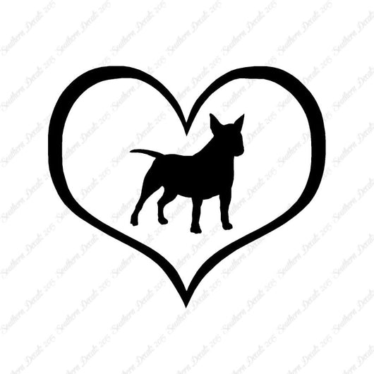 Miniature Bull Terrier Dog Heart Love