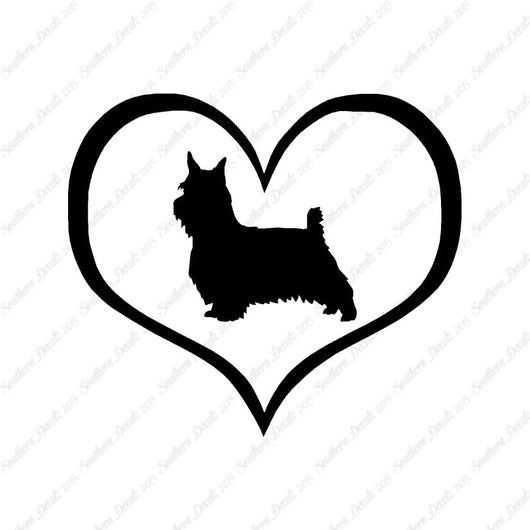 Silky Terrier Dog Heart Love
