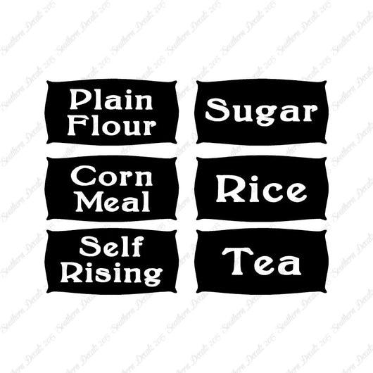 6 Cooking Labels Flour Sugar Rice Tea