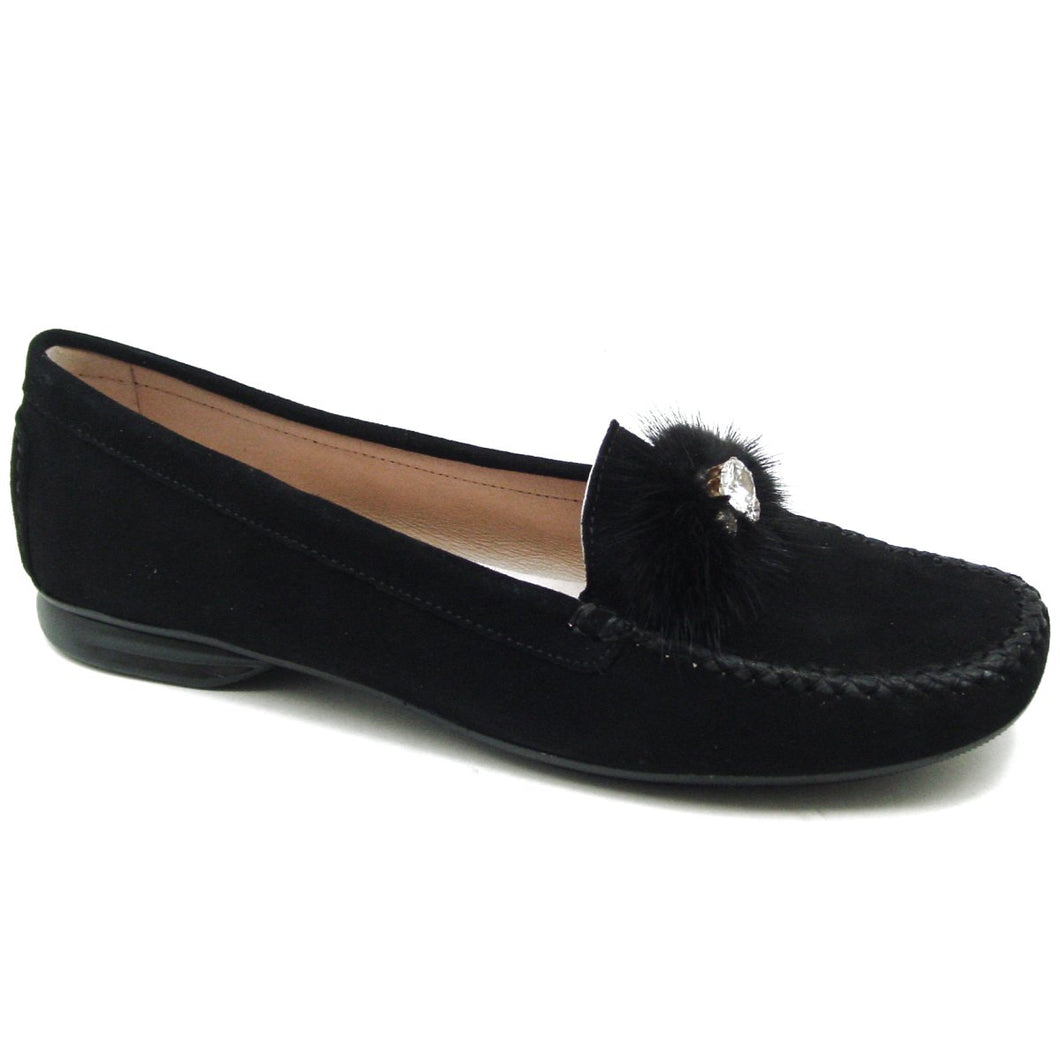 S 89011 Black Suede Loafer
