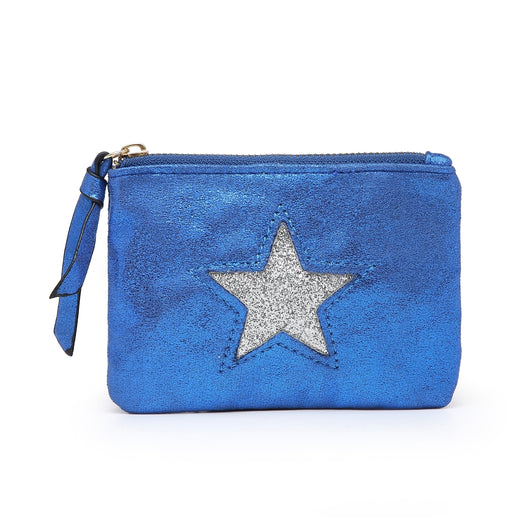 Small Blue Metallic Purse With Silver Star Detail