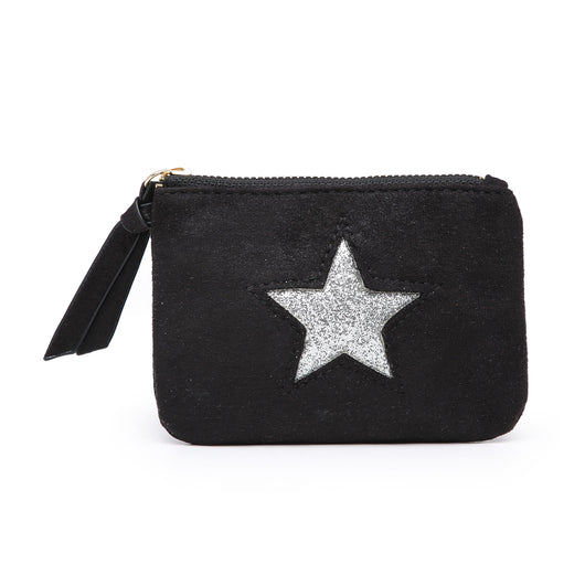 Small Black Purse With Silver Sequin Star