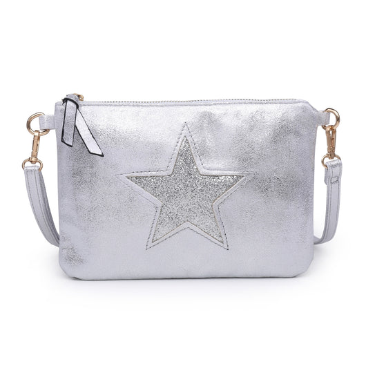 Silver Clutch With Sequin Star