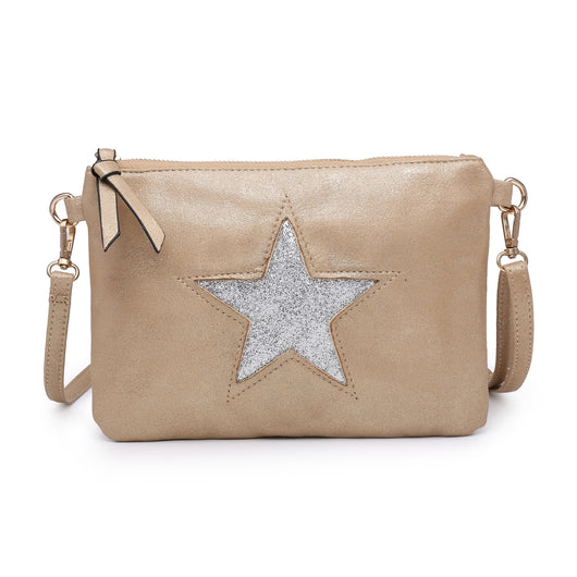 Gold Clutch bag With Sequin Star